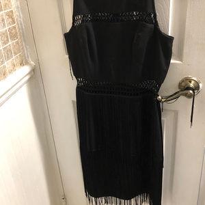 black cocktail fringe fitted dress